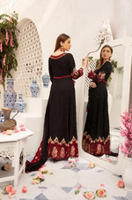 Load image into Gallery viewer, Black Embroidered IVANA Luxury Chiffon Ladies Suit