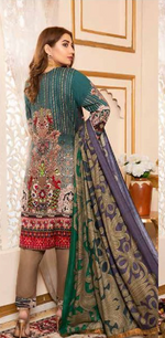 Load image into Gallery viewer, Teal Linen Wool Shawl by Munira Ladies Suit