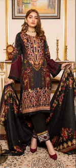 Load image into Gallery viewer, Black Linen Wool Shawl by Munira Ladies Suit