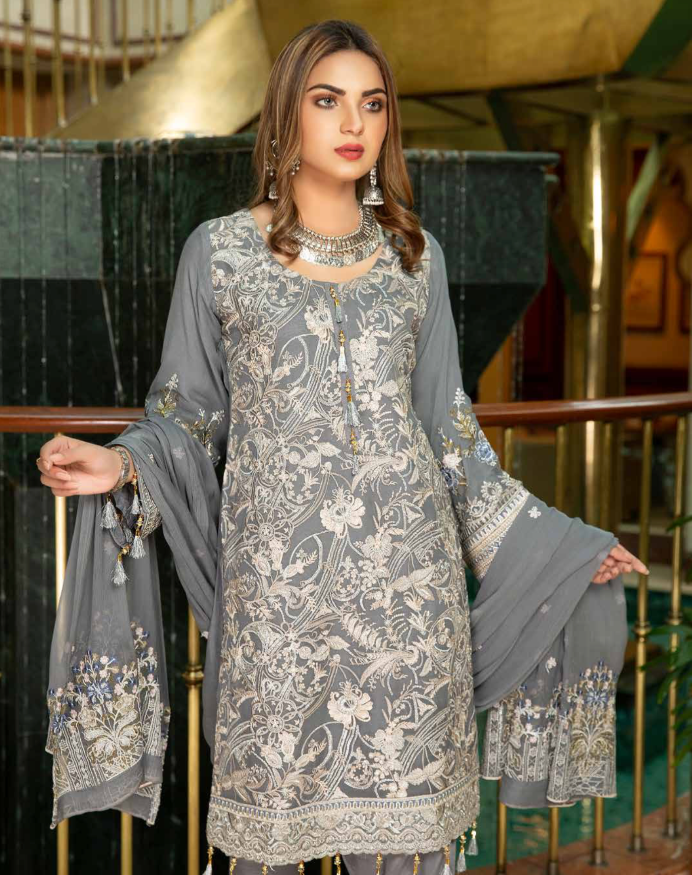 Grey Luxury Chiffon Dupatta by Munira Ladies Suit