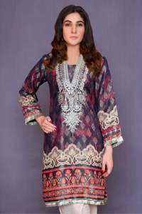 Black and Red Lime Light Jacquard Ladies Kurti
