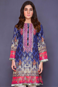 Navy Blue Lime Light Jacquard Ladies Kurti
