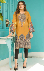 Load image into Gallery viewer, Mustard Digital Hands Embroidered Ladies Kurti