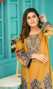 Mustard Digital Hands Embroidered Ladies Kurti