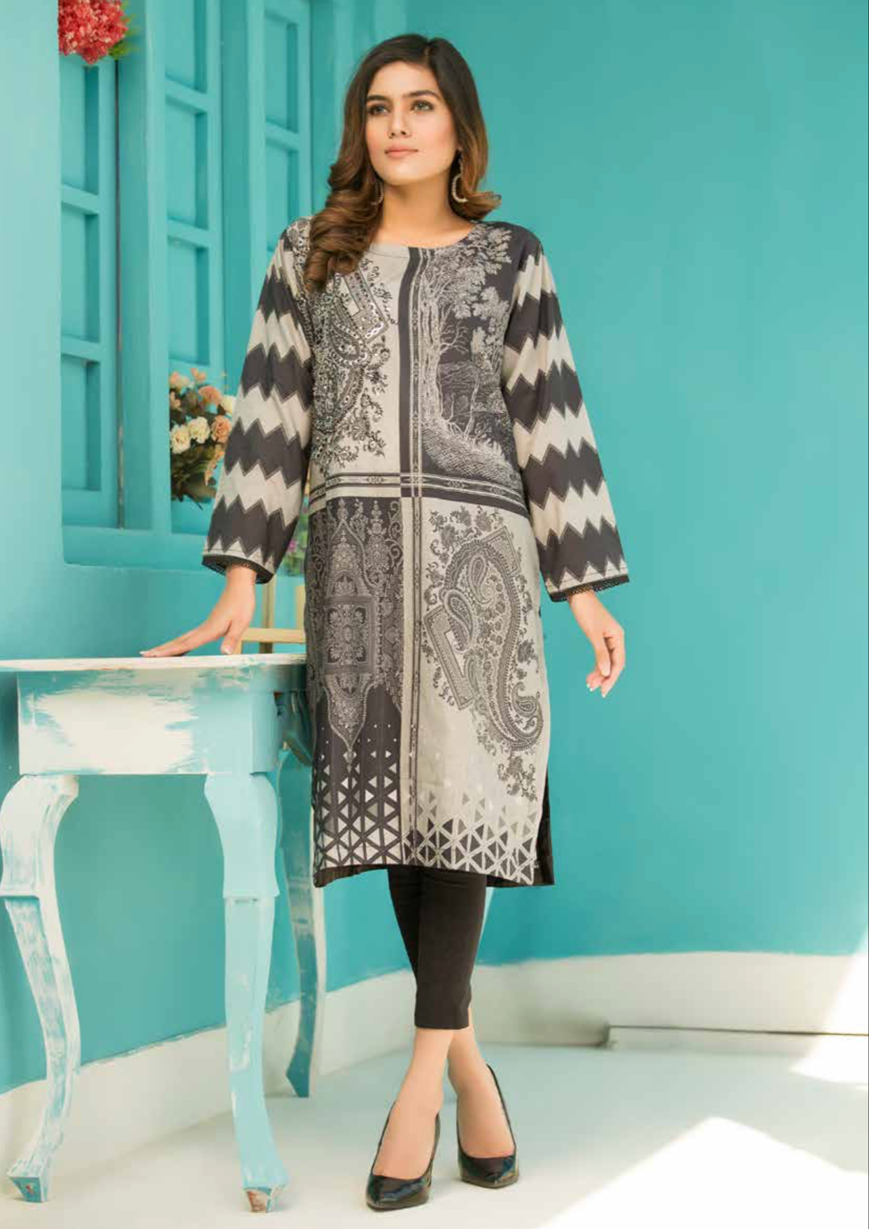 Two Tone Grey Digital Hands Embroidered Ladies Kurti