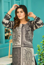 Load image into Gallery viewer, Two Tone Grey Digital Hands Embroidered Ladies Kurti