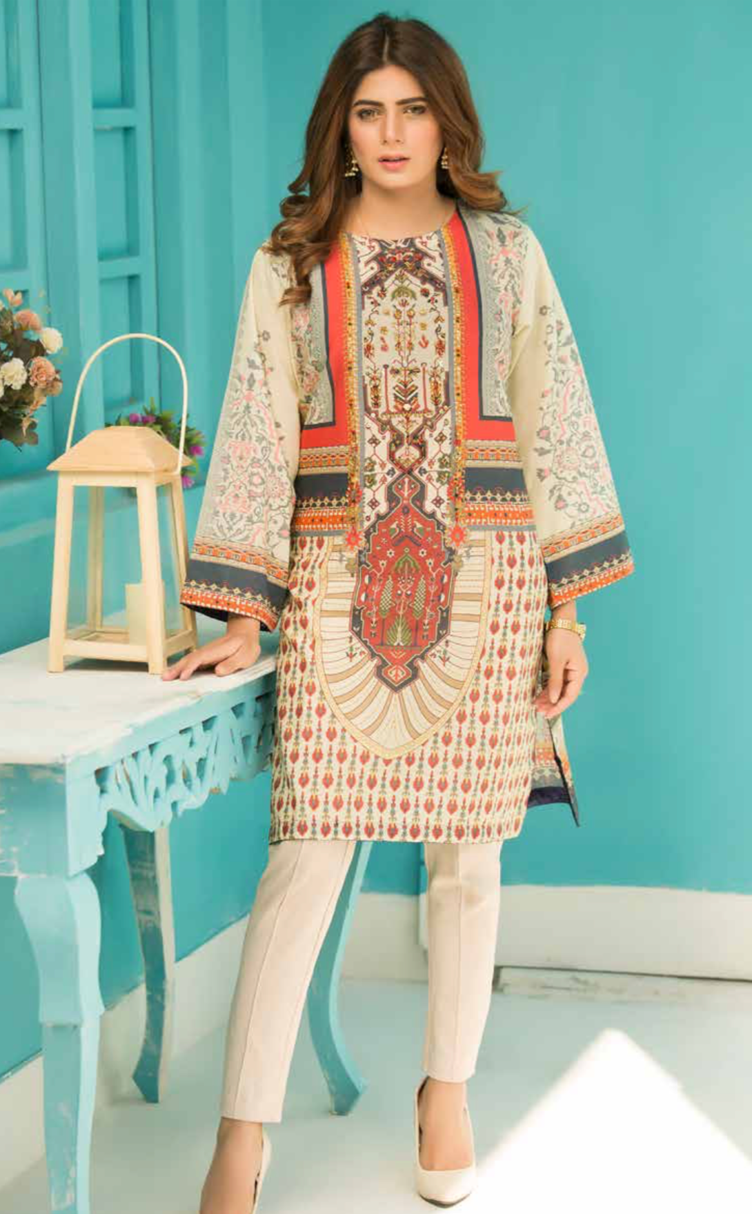 Off White Digital Hands Embroidered Ladies Kurti