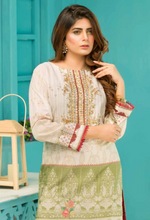 Load image into Gallery viewer, Cream and Green Digital Hands Embroidered Ladies Kurti
