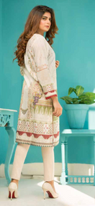 Cream and Green Digital Hands Embroidered Ladies Kurti