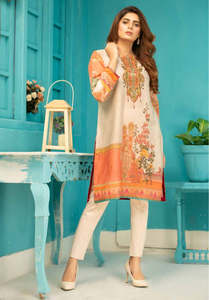 Beige and Peach Digital Hands Embroidered Ladies Kurti