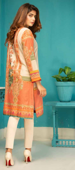 Load image into Gallery viewer, Beige and Peach Digital Hands Embroidered Ladies Kurti