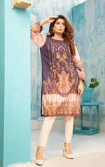 Load image into Gallery viewer, Dark Purple and Pink Digital Hands Embroidered Ladies Kurti