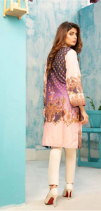 Dark Purple and Pink Digital Hands Embroidered Ladies Kurti