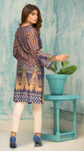 Indigo Digital Hands Embroidered Ladies Kurti
