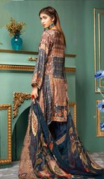 Load image into Gallery viewer, Navy Blue Kaftan Style Ladies Frock