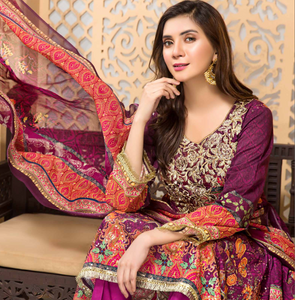 Purple Tehzeeb Mother Daughter Luxury Lawn Ladies Frock