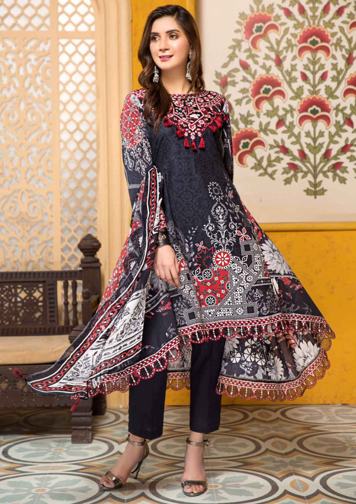 Black and Red Tehzeeb Mother Daughter Luxury Lawn Ladies Frock