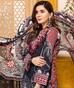 Load image into Gallery viewer, Black and Red Tehzeeb Mother Daughter Luxury Lawn Ladies Frock