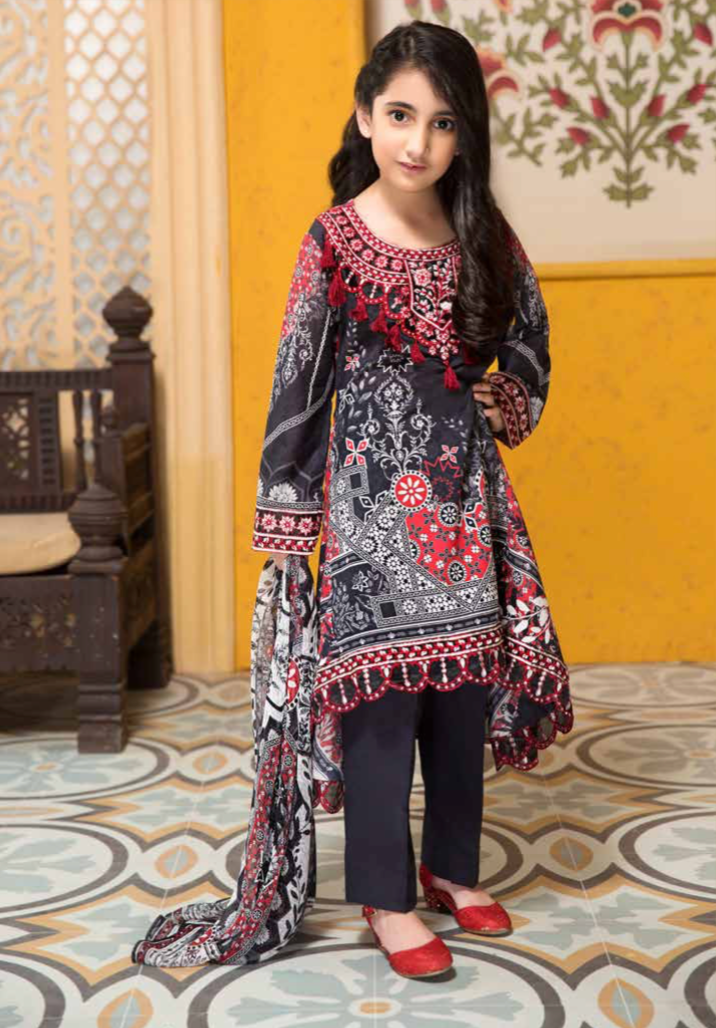 Black and Red Tehzeeb Mother Daughter Luxury Lawn Girls Frock
