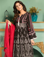 Load image into Gallery viewer, Black and Red Pret Viscose Ladies Frock