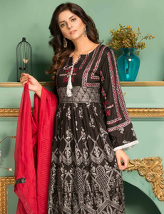 Black and Red Pret Viscose Ladies Frock