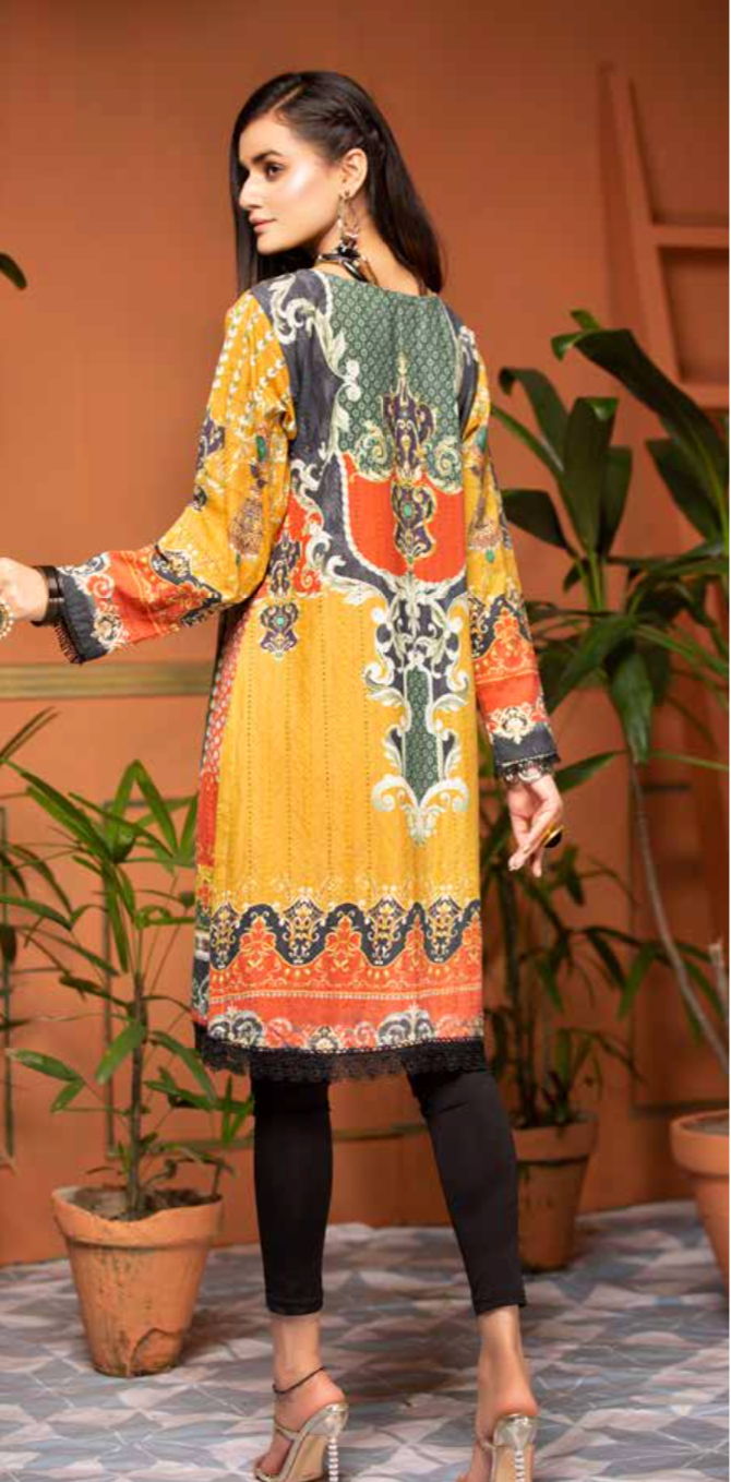 Mustard and Green Digital Hands Embroidered Ladies Kurti