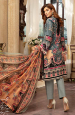 Load image into Gallery viewer, Blue and Peach Digital Airjet Lawn Collection by Munira Designer