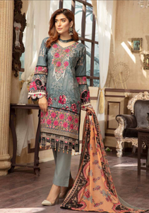 Blue and Peach Digital Airjet Lawn Collection by Munira Designer