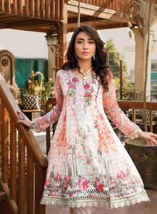 Pink and White Pret Lawn Ladies Frock