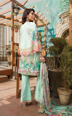 Load image into Gallery viewer, Mint Green Cape Design Pret Lawn Ladies Suit