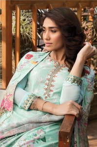 Mint Green Cape Design Pret Lawn Ladies Suit