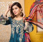 Load image into Gallery viewer, Blue and Orange Tehzeeb Mother Daughter Luxury Lawn Ladies Frock