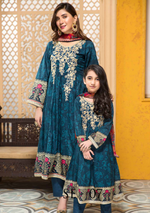 Load image into Gallery viewer, Blue and Orange Tehzeeb Mother Daughter Luxury Lawn Girls Frock