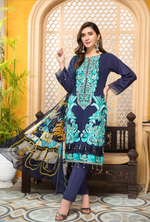 Load image into Gallery viewer, Navy Blue Tehzeeb Mother Daughter Luxury Lawn Ladies Suit