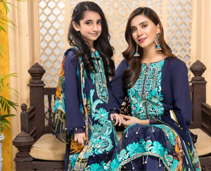 Navy Blue Tehzeeb Mother Daughter Luxury Lawn Ladies Suit