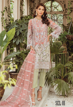 Load image into Gallery viewer, Peach and Green Luxury Chiffon Ladies Suit