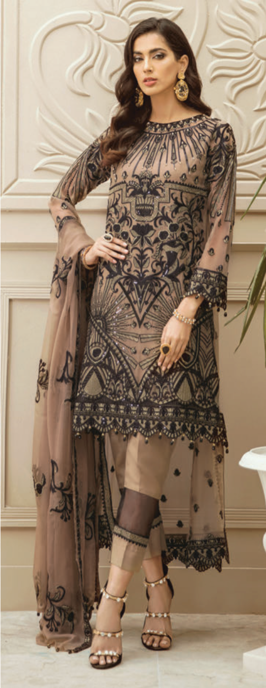 Brown Luxury Chiffon Ladies Suit
