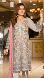 Load image into Gallery viewer, Grey Luxury Chiffon by Munira Ladies Suit