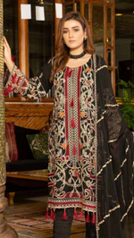Load image into Gallery viewer, Black Luxury Chiffon by Munira Ladies Suit