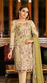 Load image into Gallery viewer, Olive Luxury Chiffon by Munira Ladies Suit