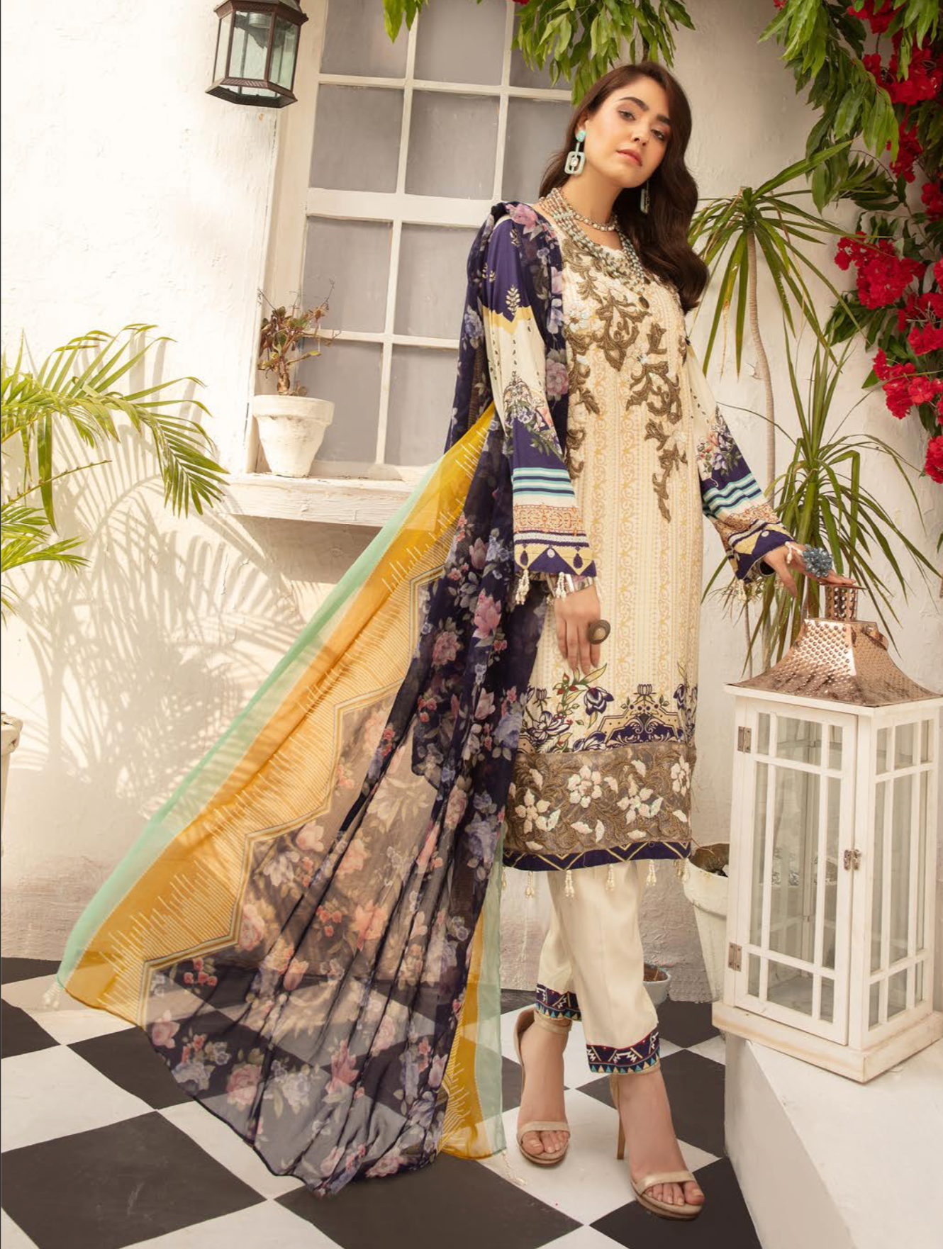 Cream Jannat Linen Ladies Suit