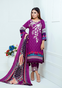 Purple Luxury Linen Ladies Suit