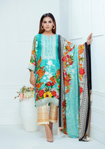 Load image into Gallery viewer, Teal Luxury Linen Ladies Suit