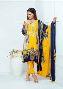 Yellow Luxury Linen Ladies Suit