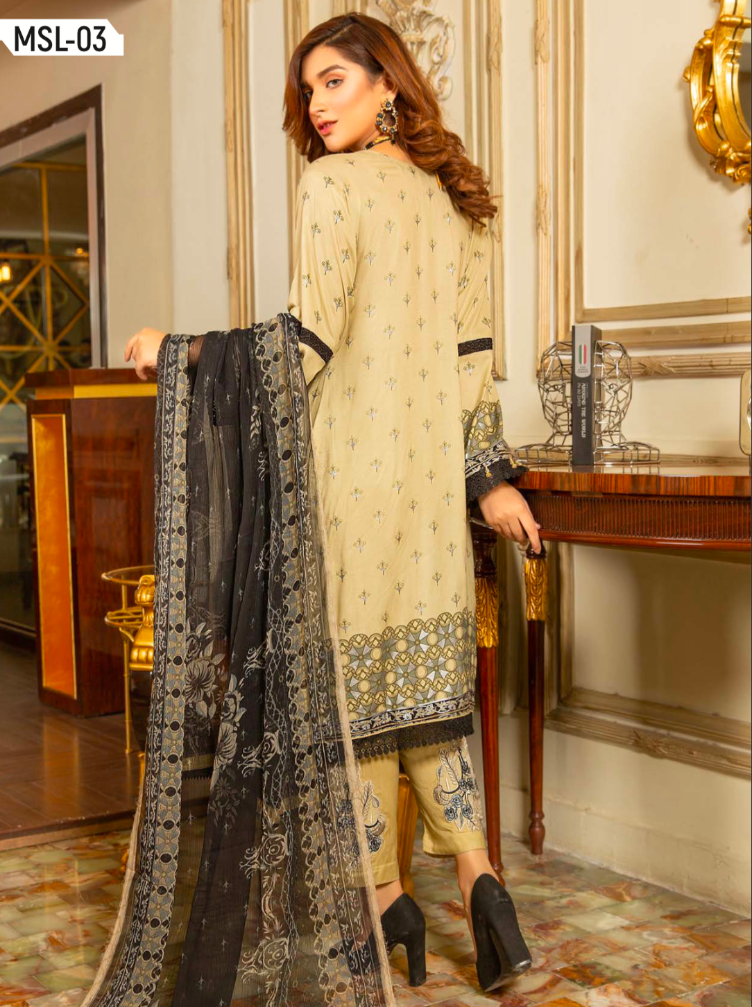 Beige Linen by Munira Ladies Suit