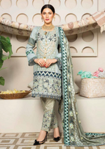 Load image into Gallery viewer, Light Teal Grey Dhanak by Munira Ladies Suit