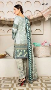 Light Teal Grey Dhanak by Munira Ladies Suit