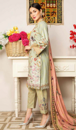 Load image into Gallery viewer, Green Dhanak by Munira Ladies Suit