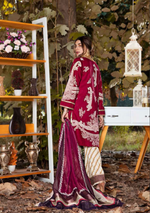 Load image into Gallery viewer, Burgundy Eshaisha Unstitched Suit