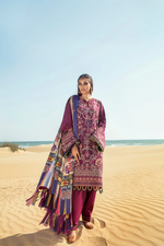 Load image into Gallery viewer, Dark Lilac BAROQUE Khaddar Unstitched Suit